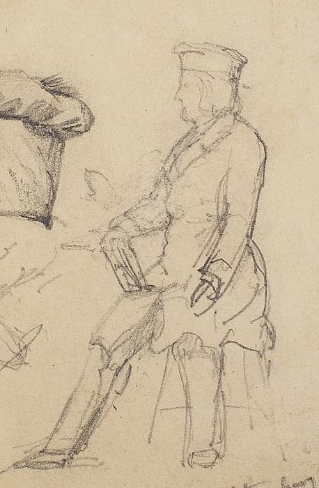 Thorvaldsen med tegnebræt og pen