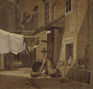 F. Sødring, The Rear Courtyard of Charlottenborg Palace, 1828, Statens Museum for Kunst, inv. no. KMS7442.