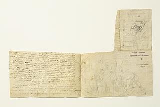 Bertel Thorvaldsen, Del af dagbog med skitser efter Caravaggiom m.fl., Inv.nr. m30 I, nr. 5-6 - Copyright tilhører Thorvaldsens Museum