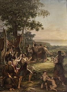 J.L. Lund: Die Anbetung der Sonne, 1838. Öl auf Leinwand, 370 × 272 cm. Staatsratssaal, Schloss Christiansborg. Foto: Ole Haupt