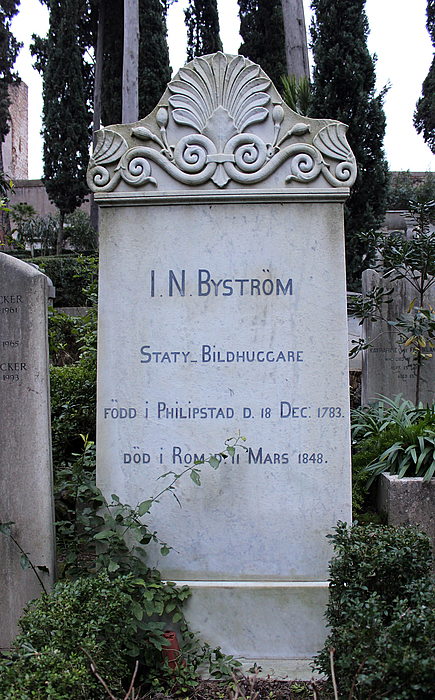 Gravmæle for J.N. Byström, Cimitero Acattolico
