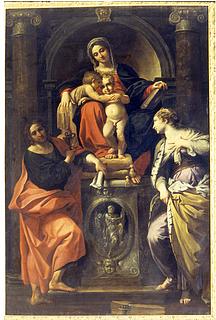 Annibale Carracci: Maria med Jesus og Johannes samt Johannes Evangelisten og Katarina af Alexandria, 1593