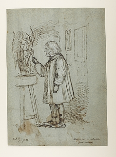 Caricature of Thorvaldsen in his workshop