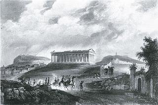 J. J. Wolfensberger: Udsigt mod Theseion set fra nordvest, ca. 1840 - Copyright tilhører Benaki Museet, Athen