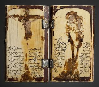 Diptych: Indtoget i Jerusalem. Nadveren. Fodvaskningen. Gethsemane Have. Den korsfæstede Kristus. Maria med barnet