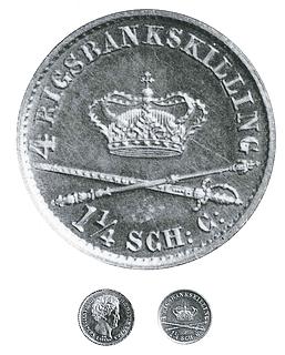 Revers og sølvmønter på Christian 8.s tid