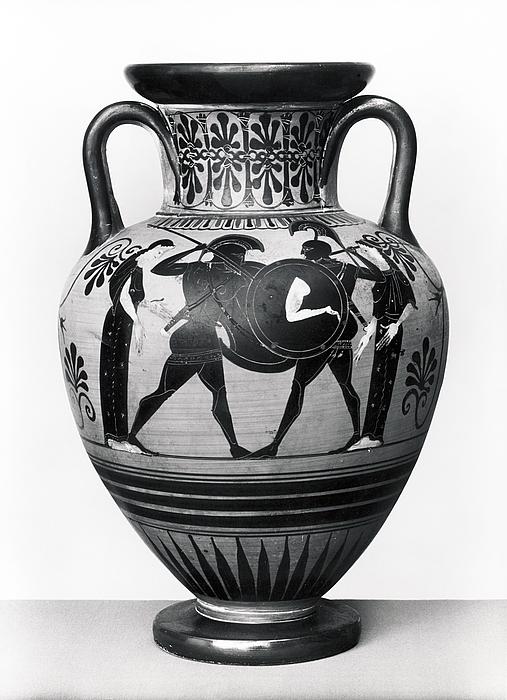 Amfora med Achilleus og Memnon i kamp (A) og krigere, der tager afsked (B). Græsk