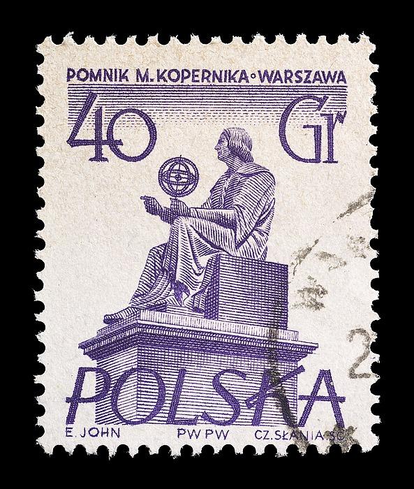 Polsk frimærke med Thorvaldsens statue af Nicolaus Copernicus