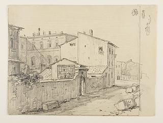 Vicolo delle Colonette di Barberini med Thorvaldsens små atelierer foran Palazzo Barberini
