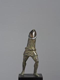 Gående dreng iført cucullus, romersk bronzestatuette i to dele, 0-200 e.Kr., uden overdel, Thorvaldsens Museum
