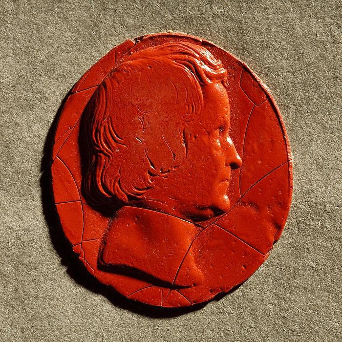 Rødt laksegl med portræt af Thorvaldsen