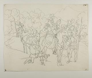 Sancho Panza knæler for Hertuginden