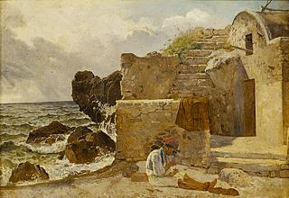 Ernst Meyer: En fisker på Capri knytter net på stranden - Copyright tilhører Thorvaldsens Museum