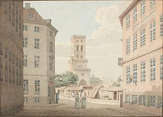 Nikolaj Tårn i København set fra Vingårdstræde