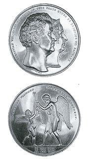Sølvbryllupsmedaillen med Thorvaldsens arbejde (Amor og Hymen) på reversen - Copyright tilhører Den kgl. Mønt- & Medaillesamling