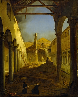 Louis  Léopold Robert: Die Kirche S. Paolo fuori le mura am Tage nach dem Brande 1823, 1825 - Copyright gehört Thorvaldsen Museum