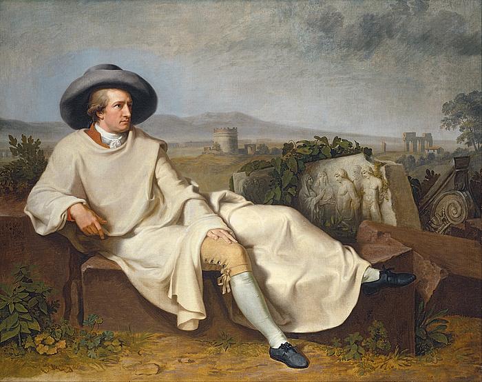 Johann Heinrich Wilhelm Tischbein: Goethe in the Roman Campagna, 1787, oil on canvas, 164×206 cm, Städelches Kunstinstitut und Galerie, Frankfurt am Main