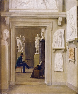 Unknown artist, Young Man Drawing Among Thorvaldsen's Artworks at The Royal Danish Academy of Fine Arts, after 1829, private collection