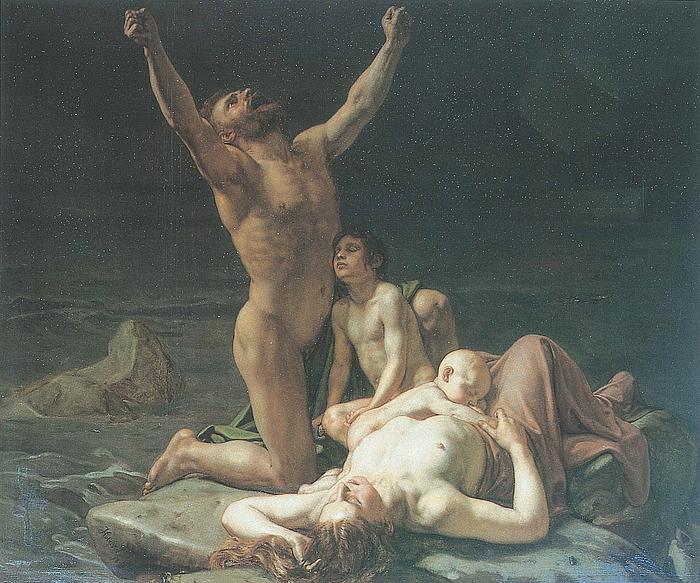 Holger Roed: Scene af syndfloden, 1869