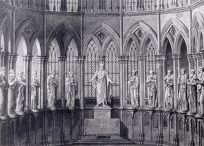Hans Michelsen: Forslag til opstilling af statuer i oktogonen i Nidarosdomen i Trondheim, omkring 1837