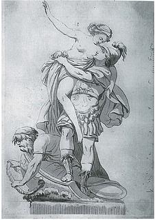 Johannes Wiedewelt: Paris løfter den røvede Helena ned i sin båd, 1760