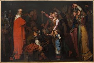 Nicolai Abildgaard: Svend Tveskæg løskøbes af de danske kvinder, 1778 - Copyright tilhører Det Kongelige Akademi for de Skønne Kunster, Akademiraadet og fotograf, Frida Gregersen