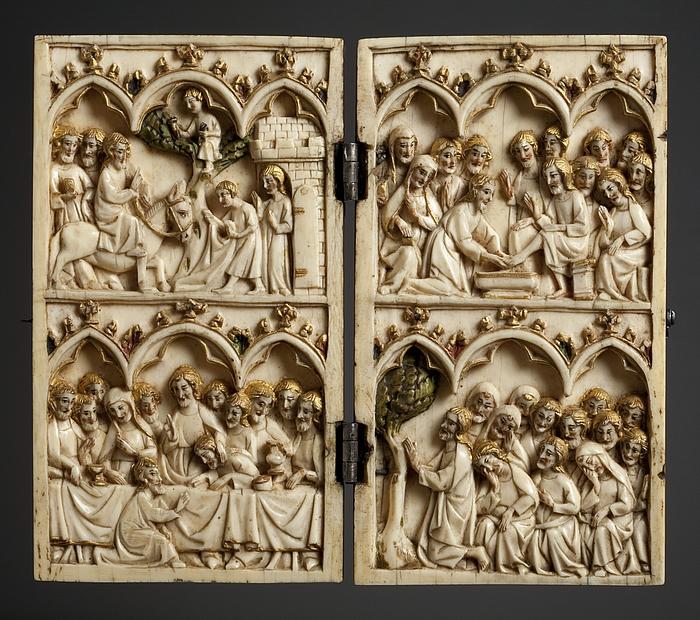 Diptych: Indtoget i Jerusalem. Nadveren. Fodvaskningen. Gethsemane Have. Maria med barnet.  Den korsfæstede Kristus