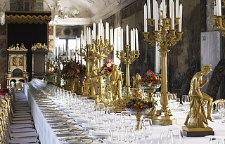Christian 8.'s table decoration at the gala dinner held on September 14, 2006, Rosenborg Castle; photo by Katrine Schøbel.