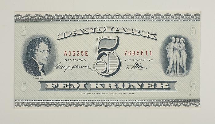 Dansk 5-krone-seddel med portræt af Thorvaldsen og de tre gratier