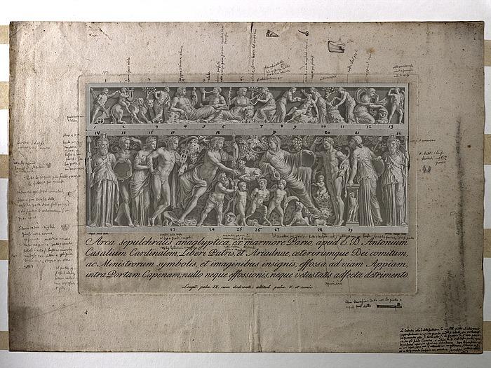 Cunego stik Casali sarkofagen med Zoegas påskrifter, redigeret multispektralt
