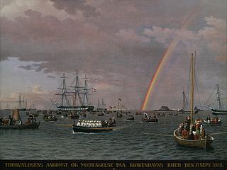 C.W. Eckersberg, Thorvaldsens Ankunft auf der Reede von Kopenhagen am 17. September 1838, 1839 - Copyright gehört Thorvaldsens Museum
