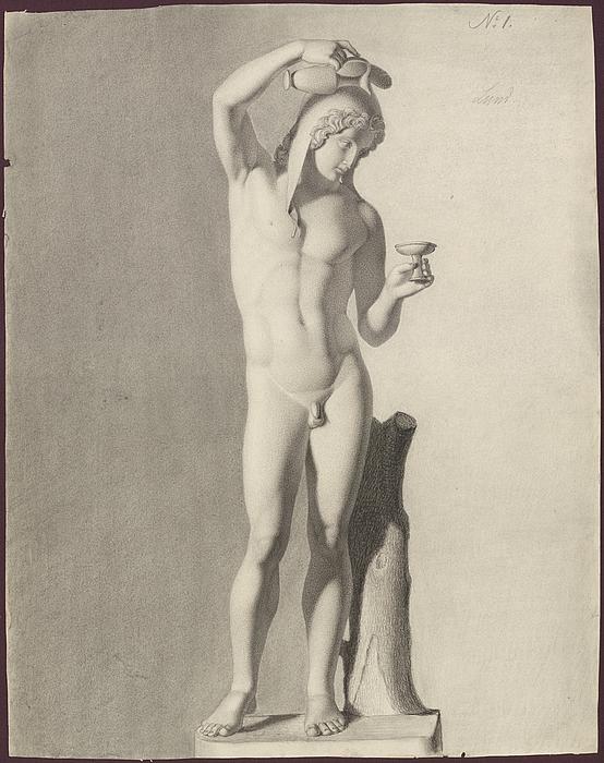 Modeltegning efter Thorvaldsen, J.L. Lund, Danmarks Kunstbibliotek, inv.nr. 439c