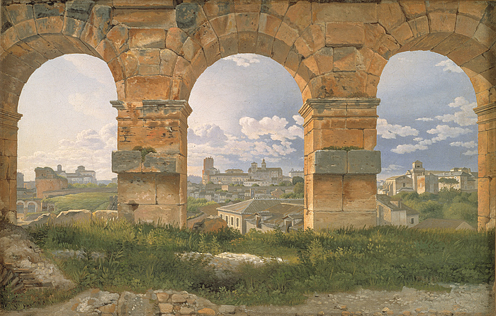Udsigt gennem tre buer i Colosseums tredje stokværk