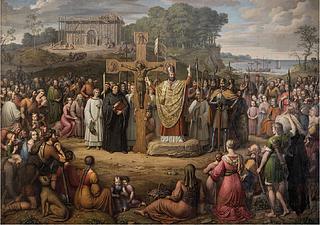 J.L. Lund: Die Einführung des Christentums in Dänemark, 1827, Öl auf Leinwand, 370 x 530 cm, Statsrådssaal, Schloss Christiansborg, Kopenhagen. Foto: Ole Haupt