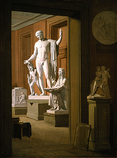 P. J. Larsen: Interiør fra Kunstakademiet i København med værker af Thorvaldsen, 1837 - Copyright tilhører Thorvaldsens Museum