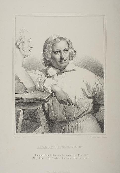 Portræt af Thorvaldsen i færd med at modellere Vernet-busten