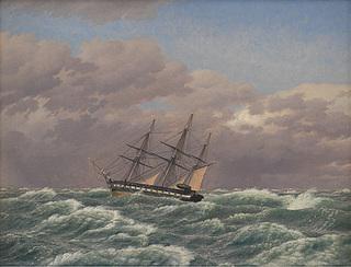 C.W. Eckersberg, Korvetten Galathea i en storm i Nordsøen, 1839, Statens Museum for Kunst, inv.nr. KMS1116.