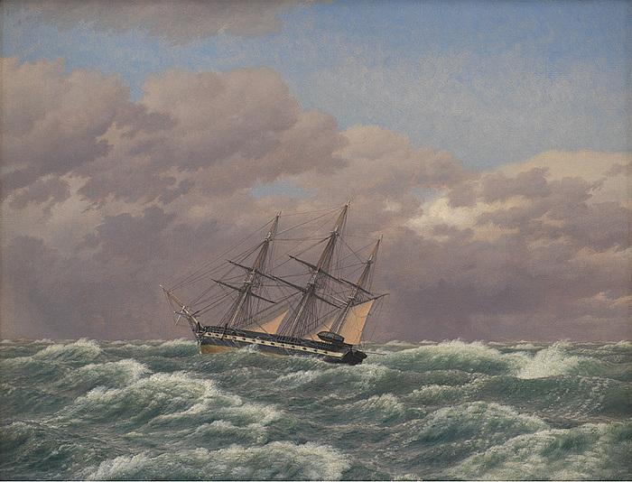 C.W. Eckersberg, Korvetten Galathea i en storm i Nordsøen, 1839, Statens Museum for Kunst