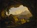 Udsigt fra en grotte over Nemisøen og Monte Cavo