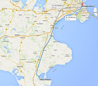 Kort over Sjælland med ruten København-Nysø