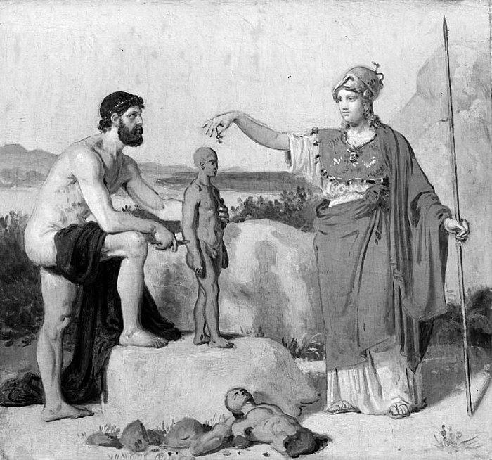 Constantin Hansen: Prometheus danner mennesket af ler, 1845