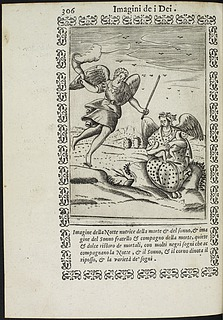 Bolognino Zaltieri: Nyx, Thanatos og Hypnos, side 306 i Vincenzo Cartari: Le imagini de i dei degli antichi, Padua, 1608