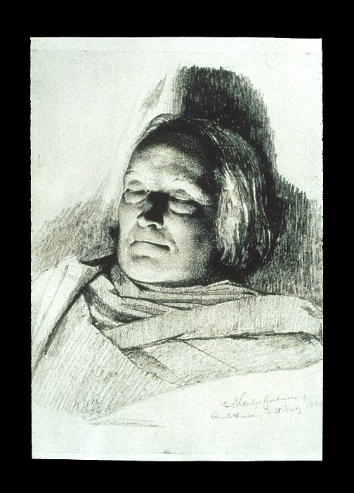 J.V. Gertner: Bertel Thorvaldsen på dødslejet, 1844