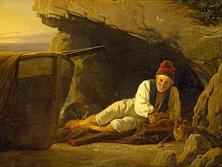 Ernst Meyer: En gammel fisker på Capri - Copyright tilhører Thorvaldsens Museum