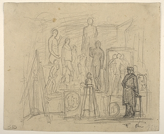 Joachim Ferdinand Richardt: Thorvaldsen i sit atelier på Charlottenborg, 1840-1842 - Copyright tilhører Thorvaldsens Museum