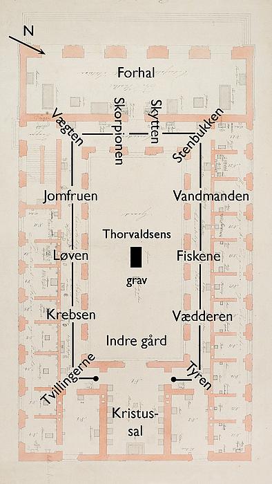 M.G. Bindesbøll: Grundplan, stueetagen med Dyrekredsen i loftet