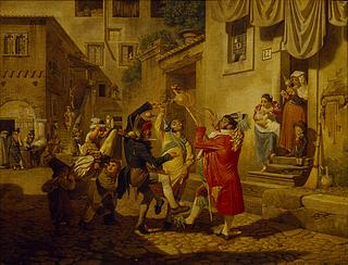 Johan August Krafft: Karnevalstreiben auf einer Straße in Rom, 1828 - Copyright gehört Thorvaldsens Museum