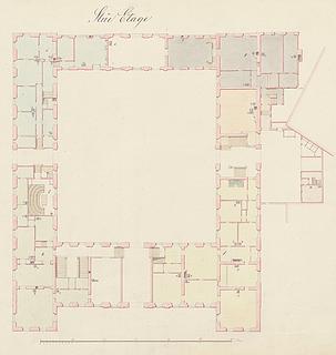 Grundplan over Charlottenborgs stueetage, © Danmarks Kunstbibliotek