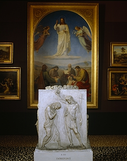 Døbefonten omgivet af religiøse malerier fra Thorvaldsens samling (Rum 28), Copyright tilhører Thorvaldsens Museum