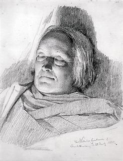 J.V. Gertner: Den døde Thorvaldsen, 25.3.1844